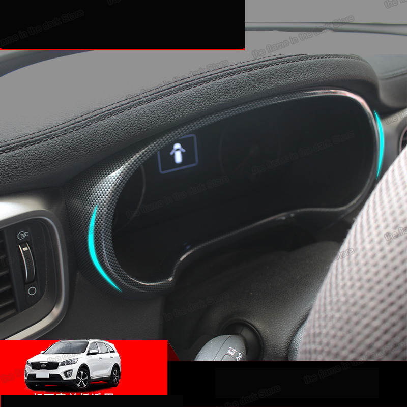 Lsrtw2017  Carbon Fiber Abs Car Dashboard Speed Screen Frame Trims For Kia Sorento Prime 2015 2016 2017 2018 2019 2020