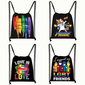 Pride Lgbt Gay Love Lesbian Rainbow print drawstring bag Man and Women backpack dab rainbow unicorn storage bags gift
