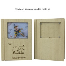 Children's souvenir tooth box wooden deciduous box for men and women baby storage box, English, Japanese, baby storage box