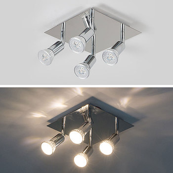4 Ways 12w Led Track Light Ceiling Rail Track Light Rotatable Swiveling Multifunction Lamp Spot Rail Spotlights