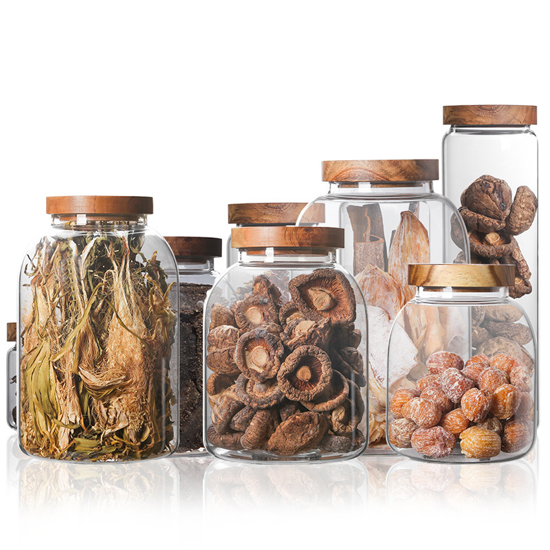 Transparent Glass Storage Bottles Cereal Container Wood Lid Glass Jar Christmas Candy Jar Kitchen Jam Coffee Candy Storage Tank image