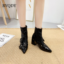 BYQDY Winter Autumn Square Heels Ankle Boots Soft Leather Low-Heeled Woman Pointed Toe Russian Waterproof Lady Rain