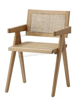 Solid Wood Dining Chair Rattan Nordic Chair  1