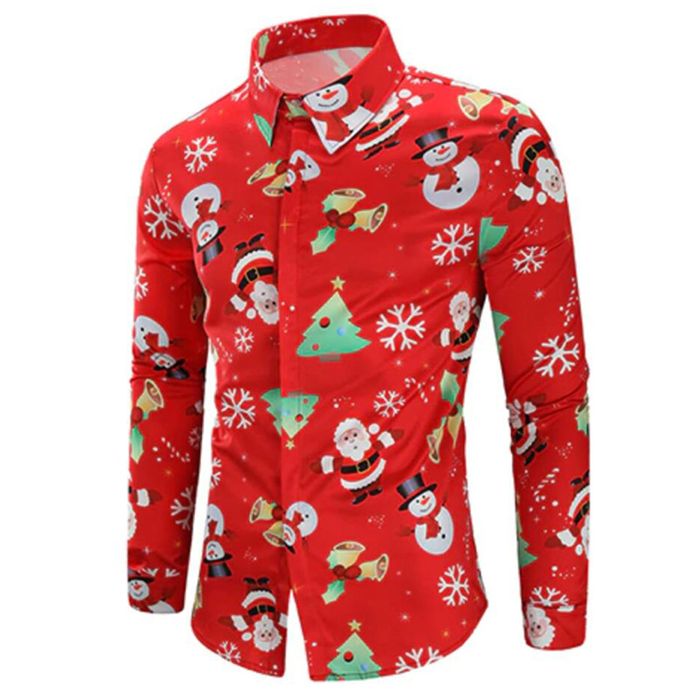 Men Shirt Christmas Print Lapel Long Sleeve Xmas 3D Printing Long Sleeve Casual Blouse Tops Tee Shirts Outwear Luxury Harajuku