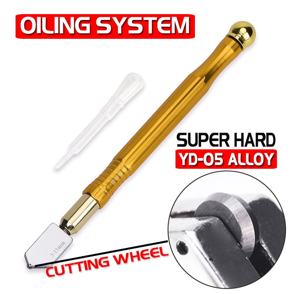 Professional Glass Cutter Oil Lubricated Cutters With Tungsten Carbide Precision Mirror Stained Glasses  Glass Cutting Knife D35