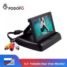 """Podofo 4,"""" HD Складной автомобильный монитор заднего вида, цветной ЖК-дисплей TFT, экран для грузового автомобиля, резервная камера заднего вида"""