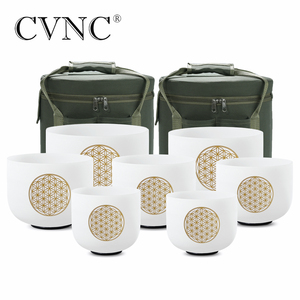 """Image 1 - CVNC 6 """" 12"""" 7 adet set not CDEFGAB çakra buzlu kuvars kristal şarkı söyleyen kase çiçek ile yaşam"""