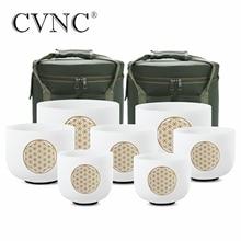 "CVNC 6 "" 12"" סט של 7pcs הערה CDEFGAB צ אקרה חלבית קוורץ קריסטל קערת שירה עם פרח של חיים"