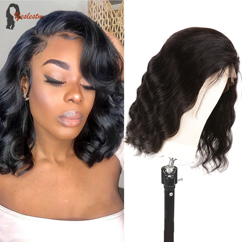 Yeslestm Body Wave Bob Wig Brazilian Middle Part  Lace Wig Human Hair Wigs For Women 4X4x1 T Part Lace Wig Straight Lace Closure