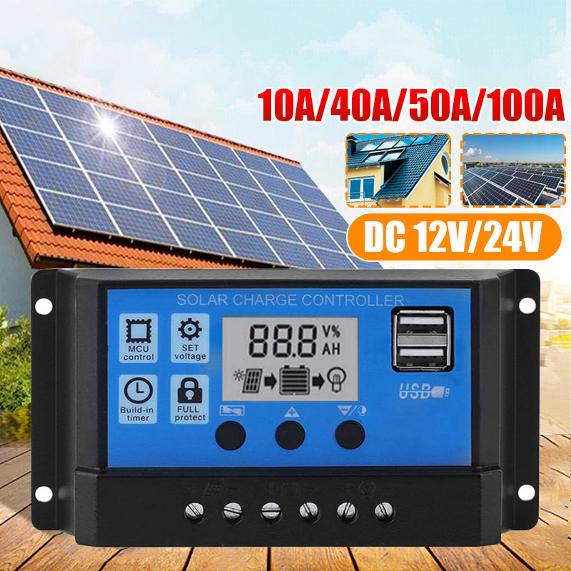 Vehemo MPPT Solar 10A-100A 2 USB Energy MPPT  Controller Auto Focus Tracking DC12V/24V MPPT Solar Charge Regulato LCD