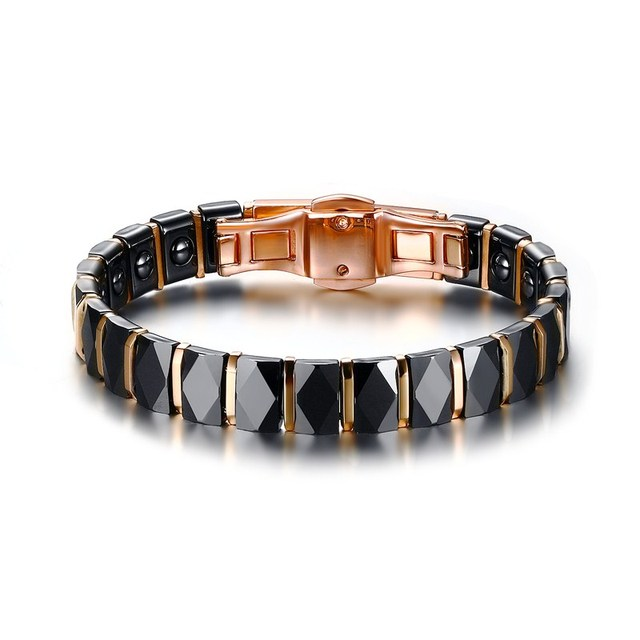 Men Stainless Steel 2 Tone Ceramic Therapy Bracelet for Male Female Unisex Trendy Jewelry Black Rose Gold color 19cm