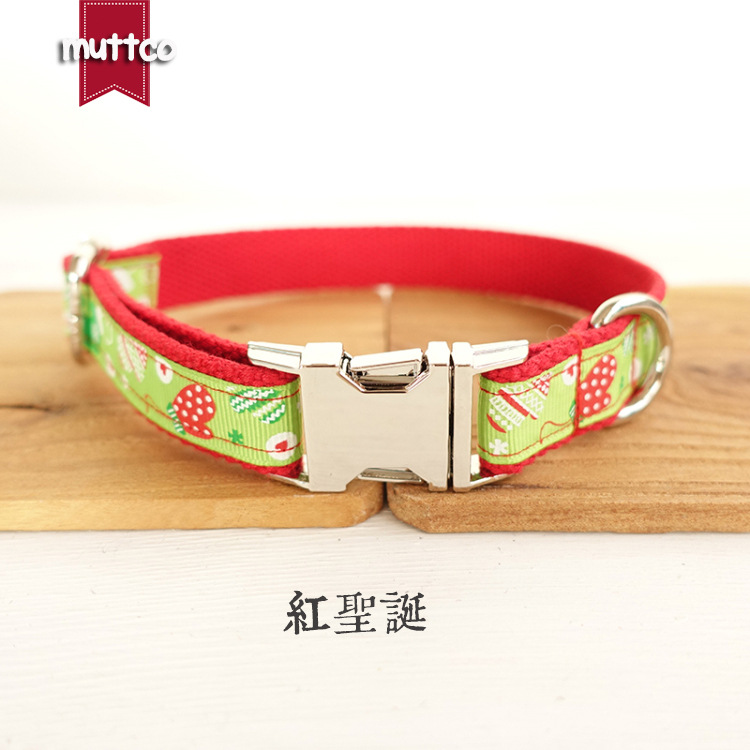 Muttco High Quality Dog Collar Red And Green Decorative Pattern Pet Dog Collar Red Christmas Gift Pet Supplies Udc011