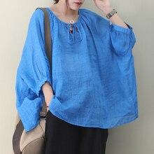 [EWQ] 2020 primavera novedad de verano patrón de cuello redondo de manga larga de parches lisos pulóveres Vintage camiseta mujer AJ01405