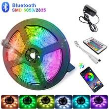 Bluetooth Светодиодные ленты светильник s 20 м RGB 5050 SMD гибкая лента Водонепроницаемый RGB светодиодный светильник 5 м 10 м 15 м клейкие ленты светодиод 12В Bluetooth Управление