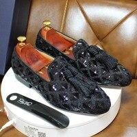 Mode Designer Frühling Sommer Herren Quaste Faulenzer Weding Casual Schuhe Schwarz Rot Luxus Marke herren Kleid Mode Schuhe für männer