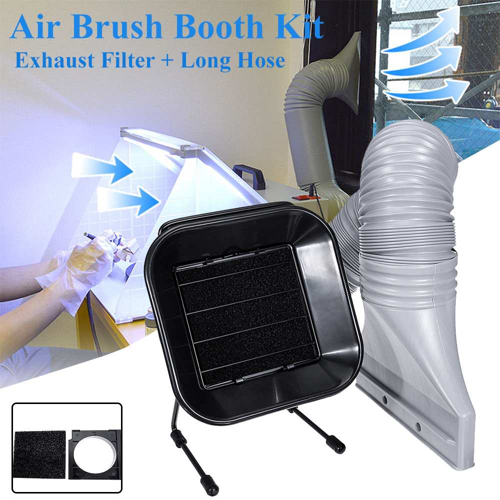 Air Brush Spray Booth Kits Parts Axial Flows Fan Aluminum Pipe With Filter Rear Cover For Model Hobby Crafts Paint Airbrush Work