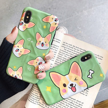 For iPhone 7plus case silicone cover Cartoon cute dog funny Corgi Phone for coque 7 Plus 6s 8 X XR XS MAX Case