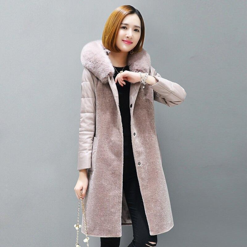 Women Clothes 2020 Natural Wool Overcoat Sheep Shearing Coats Female Sheepskin Leather Sleeve Parka Real Fox Fur LWL1389