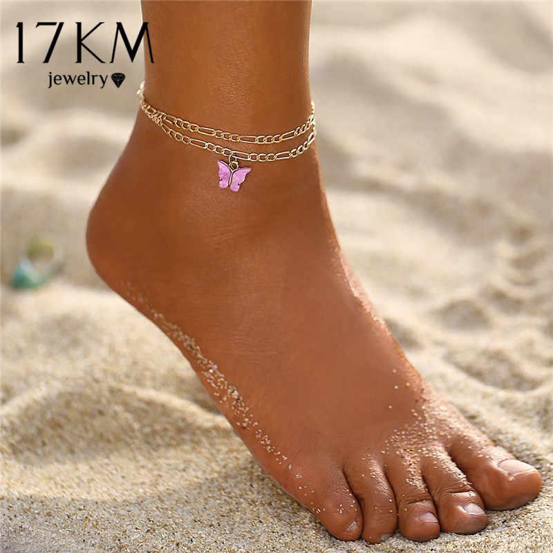 Женский ножной браслет 17 км, многослойный золотой браслет на ногу с кристаллами, богемная звезда, молния, пляжные украшения
