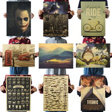 Retro Poster Decorative-Painting Paper Wall-Stickers Kraft Movie Cafe Living-Room Prints
