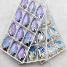 New Diy Beads Craft Paradise Shine Glass Crystal Pointback Rhinestone Droplet Glue on jewels Decoration Ghost Light