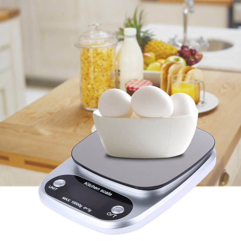 Kitchen Scales Food Baking Weight Digital LCD Electronic Weighing Scale 10kg(silver)|Bathroom Scales| |  - title=