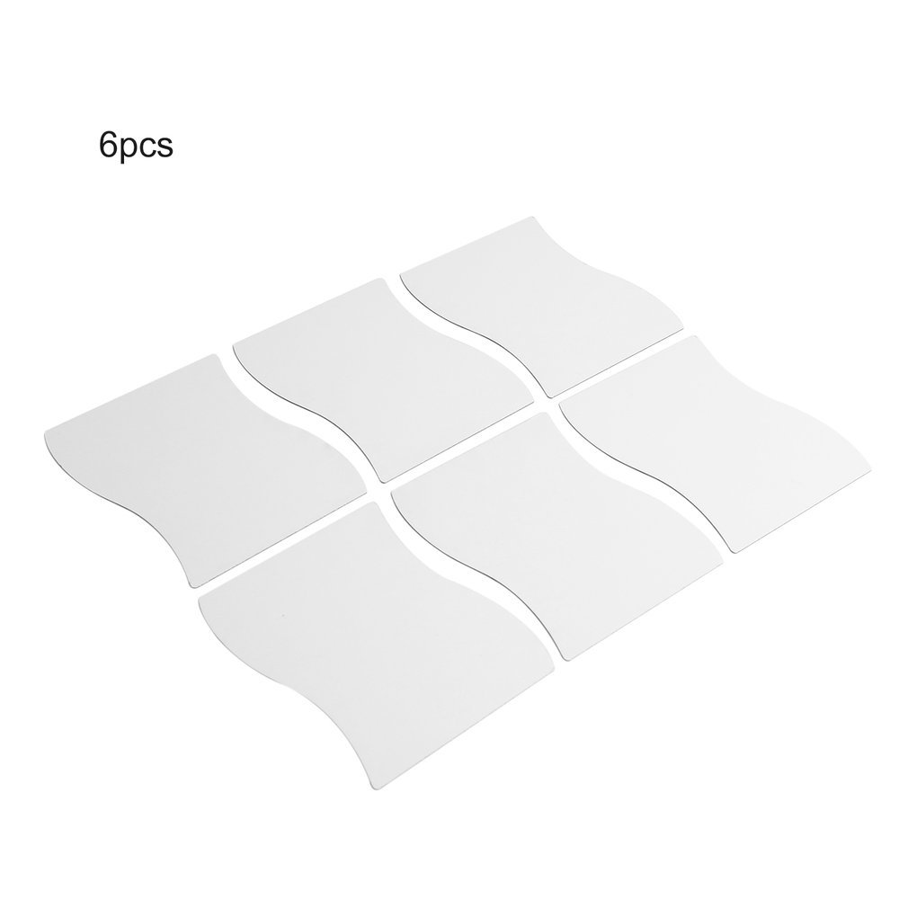 6 pcs Waves Shape Self-adhesive Tile 3D Mirror Stickers Decal Room Decorations Modern Mirror Tiles Decorative Mirrors