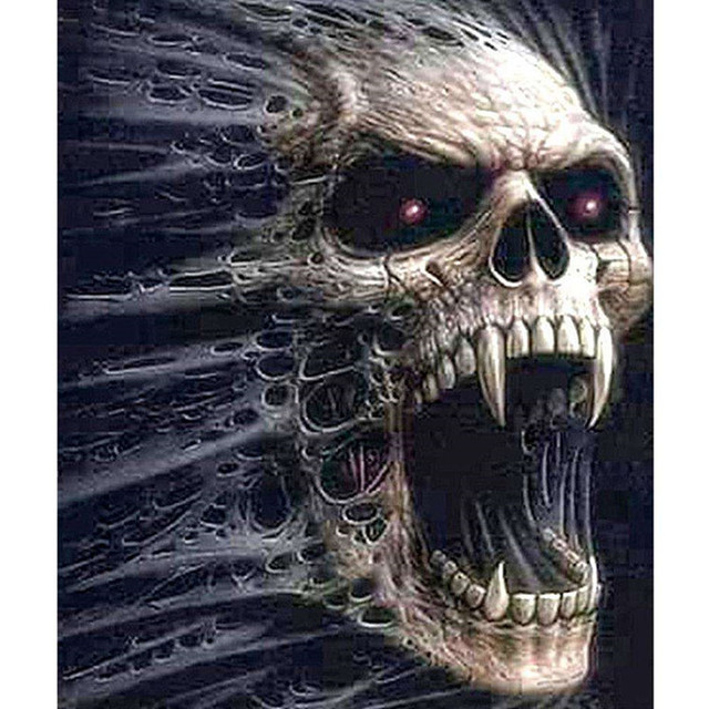 Painting By Numbers Screaming Skull Gothic Fantasy Horror