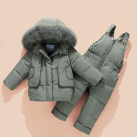 Winter Baby boy and girl Clothing Kids Down Coat Jacket Baby Girl Boy Fur Hooded Parkas +bib Pants Jumpsuit Clothes Winter Snows