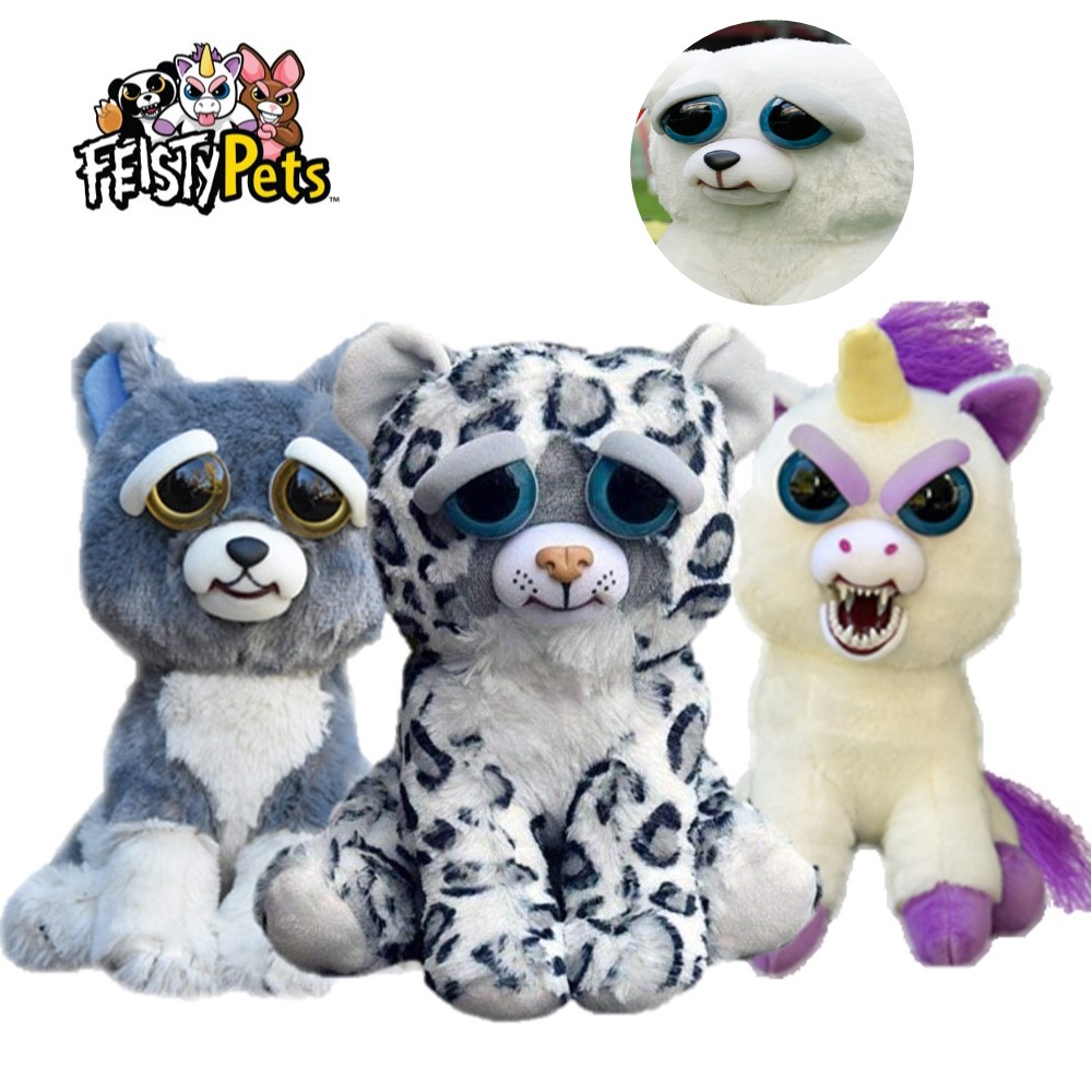 Мягкие игрушки для детей Feisty Pets со смешным лицом, снежный леопард, мягкие плюшевые единороги, злые животные, собака, кукла, медведь, панда