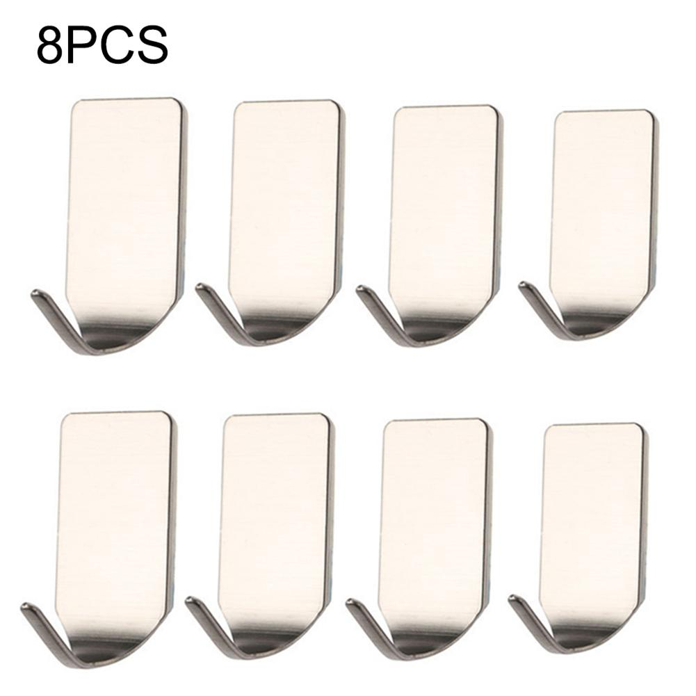 8Pcs Strong Adhesive Hook Wall Door Sticky Hanger 304 Stainless Steel Sticky Key Rack Garage Kitchen Bath Storage Hooks