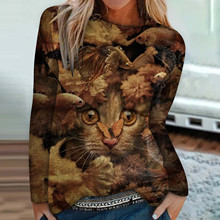 T-Shirt Tops Short-Sleeve Fashion Casual Graphic O-Neck Cat-Print -G37 Female