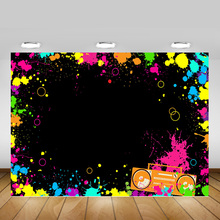Let's Glow Backdrop Photography Splatter Glow Neon Party Decoration Photo Background Graffiti Movie Night Party Backdrops Shoot