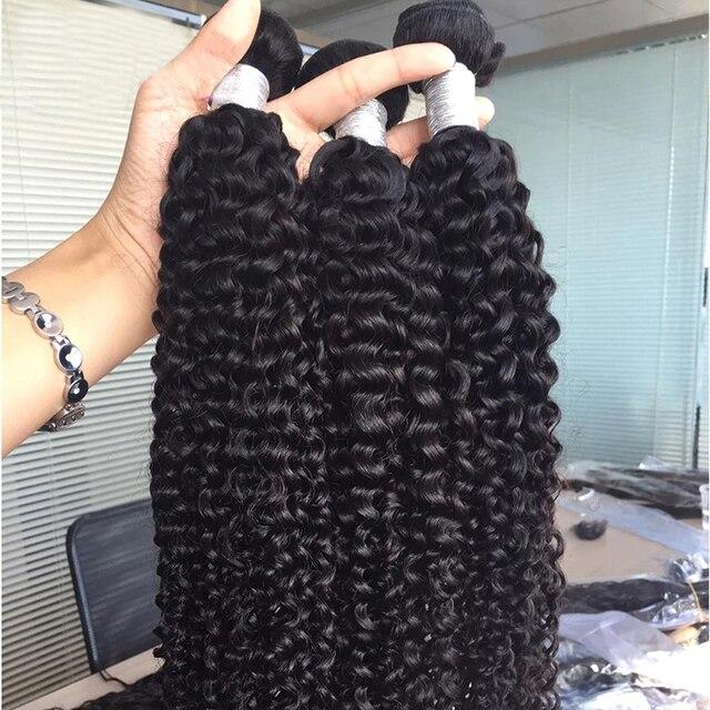 Mechones rizados y rizados de 28, 30, 38 y 40 pulgadas, extensiones de cabello humano mechones largo brasileño Remy 1, 3, 4 mechones
