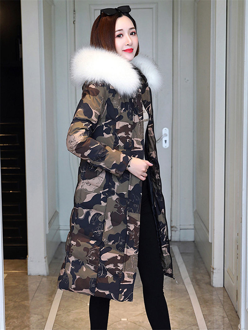Warmly Fashion Long Camouflage Jacket Women Large Fur collar Parker Cotton Women Coat 2019 Autumn and Winter New Outwear f2479