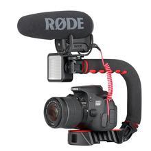 Ручной Стабилизатор Ulanzi для видеокамеры, U-образная рукоятка с тройной рукояткой для горячего башмака для интервью в реальном времени