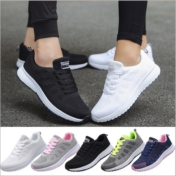 Women Casual Sport Shoes Fashion Men Running Shoes Weave Air Mesh Sneakers Black White Non Slip Footwear Breathable Jogging