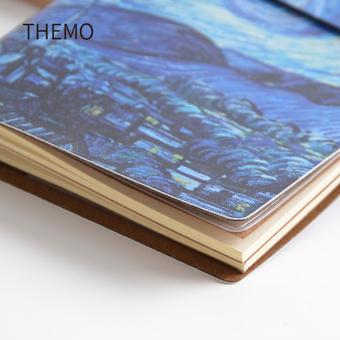 Stylish cute notebook Van Goah Painting PU Leather Cover Diary Book traveler's notebook 60 sheets well-structured notebooks belt