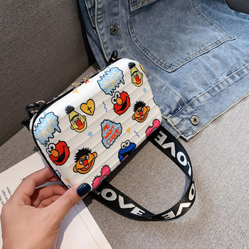 Luxury Wide Letter Strap Crossbody Bags Women Cartoon Printed Small Luggage Handbag Suitcase Shape Tote Mini Box Bag Clutch Bags image