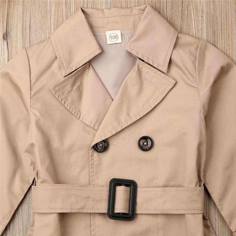ガールズジャケットのダブルブレストラペルトレンチ長袖コートキッズ冬トレンチベルトカジュアルスリムフィットアウター