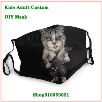 Heavy Metal Bass Guitar Cat casual DIY face mask fashion washable reusable face mask mouth mask with design funny
