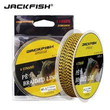 Jackfish 4 strand pe trançado linha de pesca 25 30 40 50 80lb 110yds colorido multifilamento carpa linha de pesca equipamento de pesca