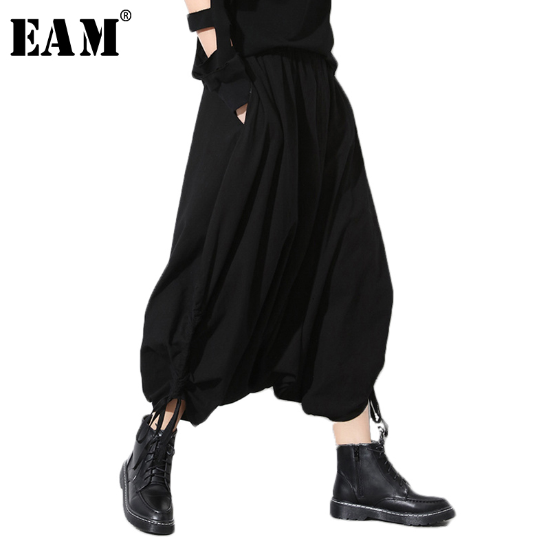 [EAM] 2020 Spring Autumn New Fashion Black Solid Pockets Elastic Waist Casual Loose Big Size Women Long Cross Pants RA231