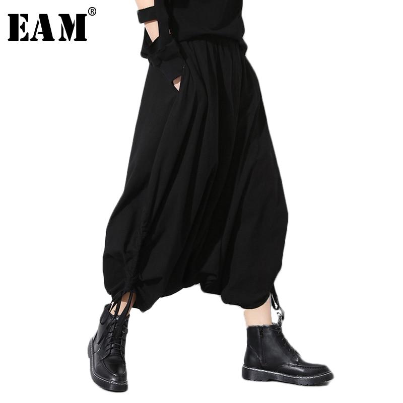 [EAM] 2020 Spring Autumn New Fashion Black Solid Pockets Elastic Waist Casual Loose Big Size Women Long Cross Pants RA231