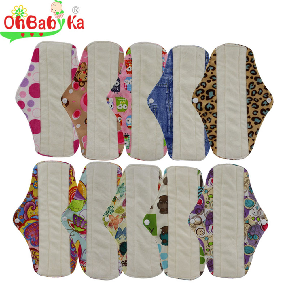 Washable Menstrual Pad Reusable Sanitary Menstrual Bamboo Cotton Cloth Feminine Hygiene Panty Liner Towel Pads