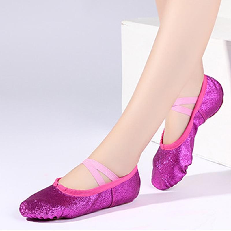 Glitter Blue Pink Ballet Shoes For Girls Soft Sole Flat Yoga Gym Slippers Children Women Jazz Ballet Dance Sneakers Size 24-44