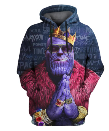 LISCN 2019 Anime Design Men's 3d Hoodies Fashion Full Printed Hooded Pullovers Male Cool Thanos 3D  Sweatshirt