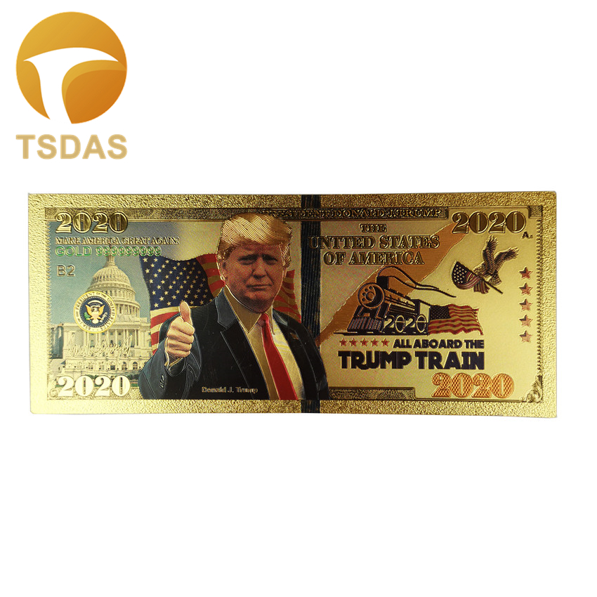 Banknotes Trump President 2020 Gold Decoration Commemorative Notes Collection Home Decoration 24K Gold Plated Banknote