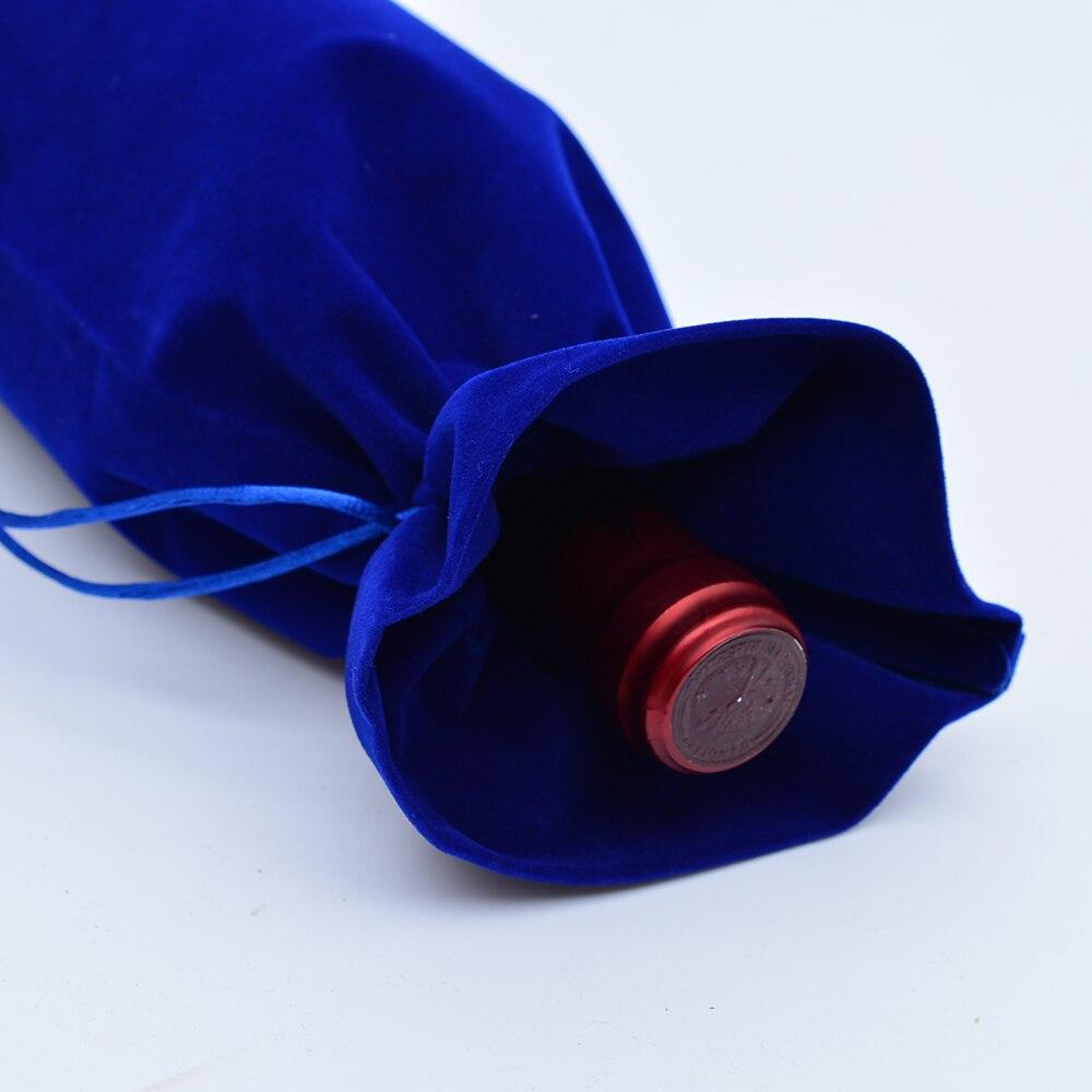 200 Pc 15X37 Cm Fluwelen Wijnfles Covers Flanel Wijn Fles Doek Champagne Blind Fles Wijn Cadeau Zakken wedding Party Groothandel - 5