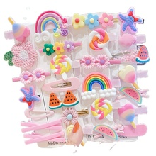 14Pcs Children Girls Hairpins Set Cute Fruit Rainbow Flower Kids Headwear Baby Girl Hair Accessories for Toddler Girl Hair Clip